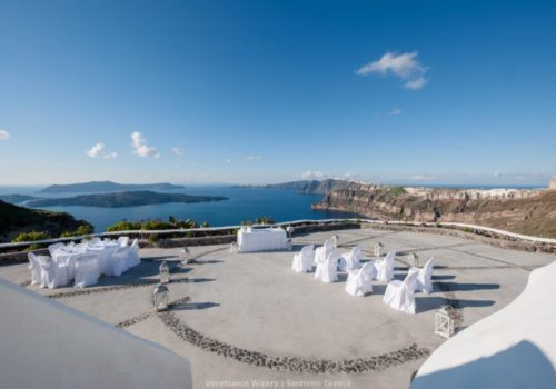 Venetsanos Winery in Santorini is a new wedding Venue with great view of Santorini.